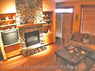 Main Living Rm with River Rock Fireplace