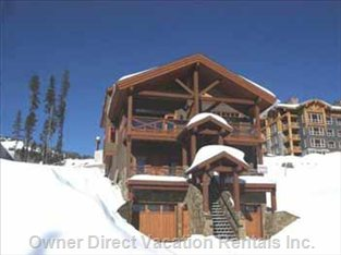 Front of Chalet. Access to Ski Run. Ground Level at the Rear
