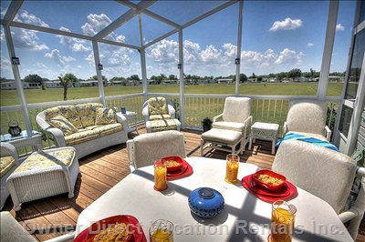 South Facing Private Deck with Bbq, Dining Area, Padded Rattan Furniture and Fully Screened with no Rear Neighbors.