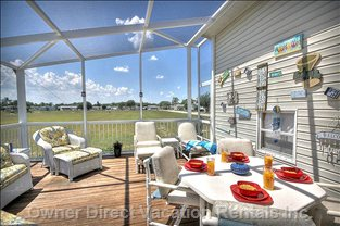 The Spacious Deck is the Perfect Place to Unwind after a Hard Day at the Parks