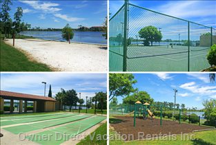 Tennis Courts, Gym, Jacuzzi, Shuffleboard, Children's Playground, Volleyball, Racquetball, Stocked Fishing Lakes & Poolside Snack Bar,