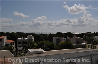 Roof Top - View from the Roof Top Terrace, with Wet Bar, Outdoor Shower, Private Heated Plunge Pool, Bbq, Fire Pit, Table with Sunshade, 6x Chairs, 3x Lounge Chairs, Hammock, 4x Lounge Stools and Center Table