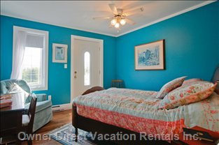The Turquoise Room - Sumptuous Comfort and Coziness Characterize this Upper Bedroom with Balcony Overlooking the Front Lawns.
