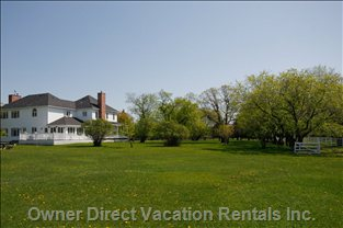Rear Yard - with over 25 Acres of Lawns, and the Balance of this 92 Acre Estate a Mixture of Forest, Orchard and Field, the Property itself is a Once in a Lifetime Delight.  Stroll Endlessly, Relax Infinitely.