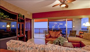 Living Room Looking out over the Beach and Ocean!