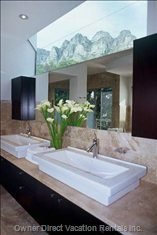 Master Bathroom with Mountain and Sea Views