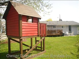 Children'S Playhouse - the Yard is Large, Flat, Fenced and Gated.  a Playhouse, Deck with Bbq and Patio Set.  Great for Children and Pets