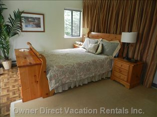 The Master Bedroom, with Ensuite,  Features a Queen Sized Sleigh Bed.