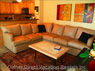 Living Room with Upscale Comfortable Leather Furnishings