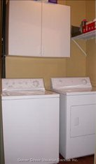 Full Sized Washer and Dryer in Laundry Room.