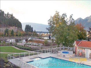 View from Deck ,Overlooking Sicamous Landing and Channel.