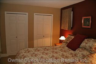 "Queen Bedroom - has a 27"" Flat Screen TV and DVD"