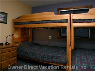 Bunk Bedroom - the Bunk Bedroom has Two 920 Bunk Beds, a Double/Single and Also a Single/Single.  Twin Wardrobe Closets, a Night Table with Table Lamp and Positionable Bunk Bed Lights Are all Provided.  Directly across the Corridor is the Full Bathroom with Shower and Bath-tub.