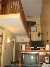 View to Upper Level - Visit, Listen to Music, Watch TV Or DVD'S Downstairs and Send the Kids up Stairs to Watch Videos Or Play Game Boy.