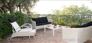 Relax Corner of Main Terrace - White and Black Exteriors Furniture