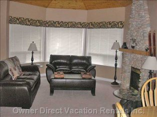 Living Room - Leather Furniture, Fireplace