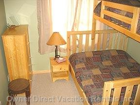 Second Bedroom - Queen and Single Bunk.
