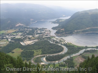 Arial view of Sicamous, BC