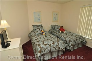 Twin Bed Room with Small Flat Screen TV and DVD Player
