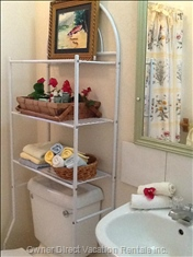 Bath Features Large Walk-in Tiled Shower, Fluffy Towels, Facecloths, Soaps, Travel Shampoo & Conditioner, Hair Dryer