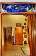 Stained Glass above Partition (with Folding Door) which Separates Bedroom 2 & 3 from the Rest of the House