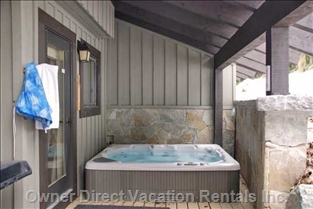 Very Private Large Hot Tub off Den