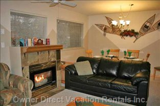Valhalla Living/Dining Area with Cozy Fireplace.